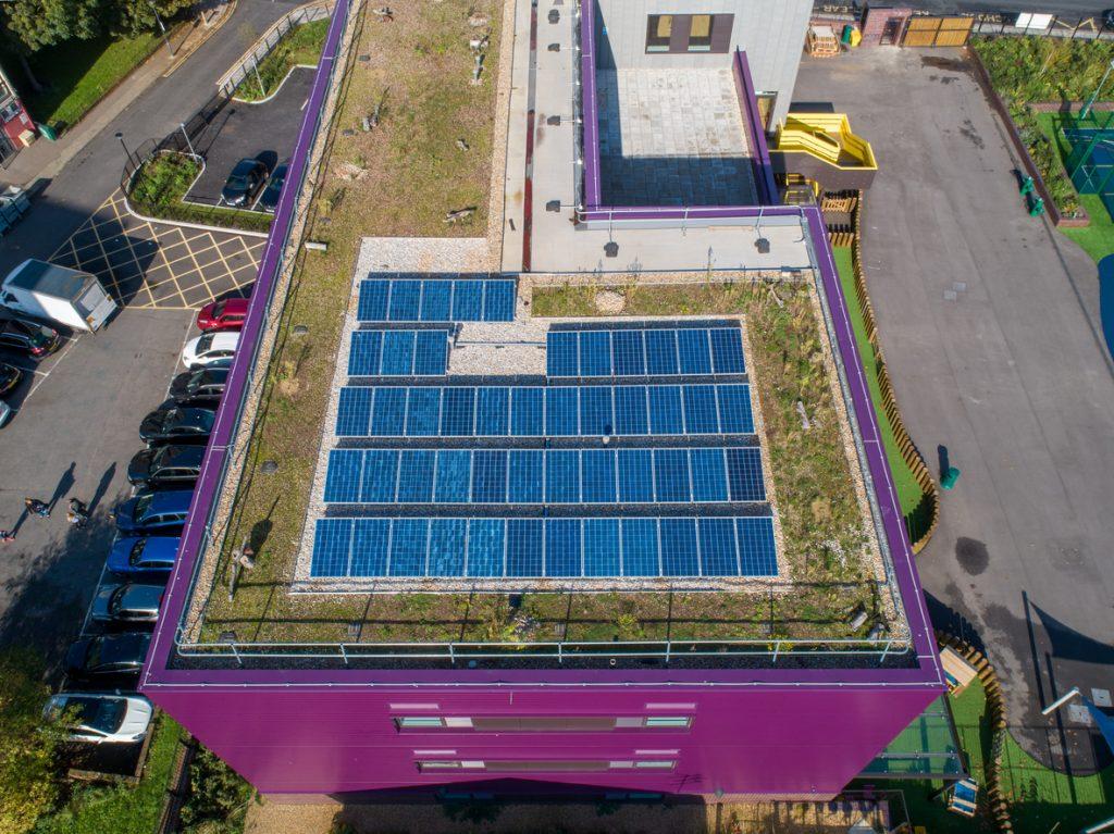 Energy saving solar panels at Plumcroft Primary