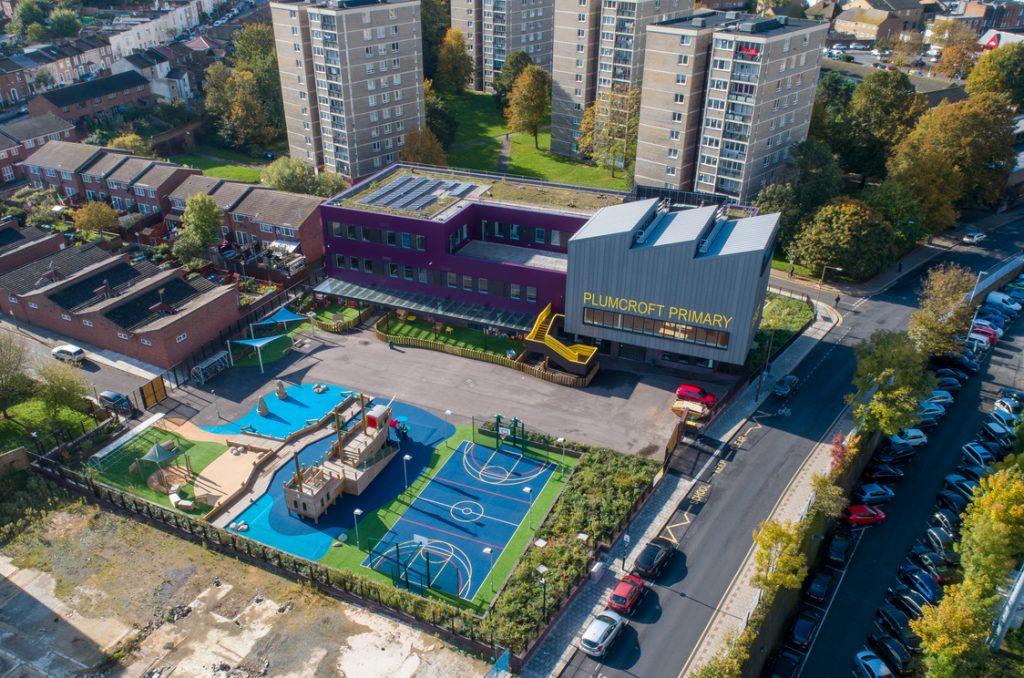Aerial view of Plumcroft Primary school in Woolwich, London.