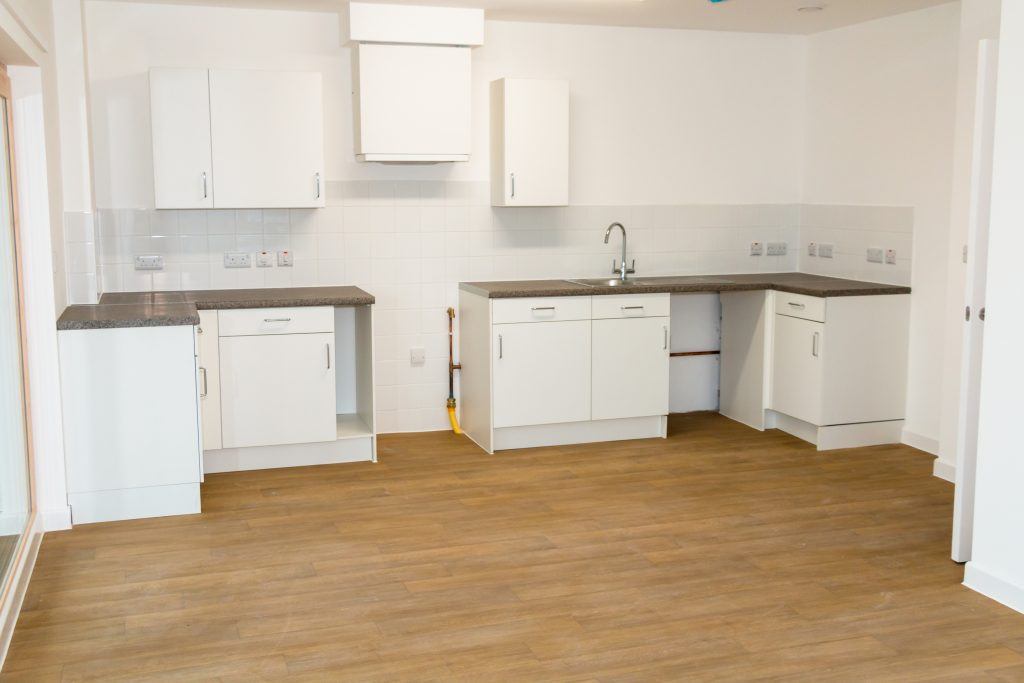 Fully fitted kitchen units at Haine Court apartments.