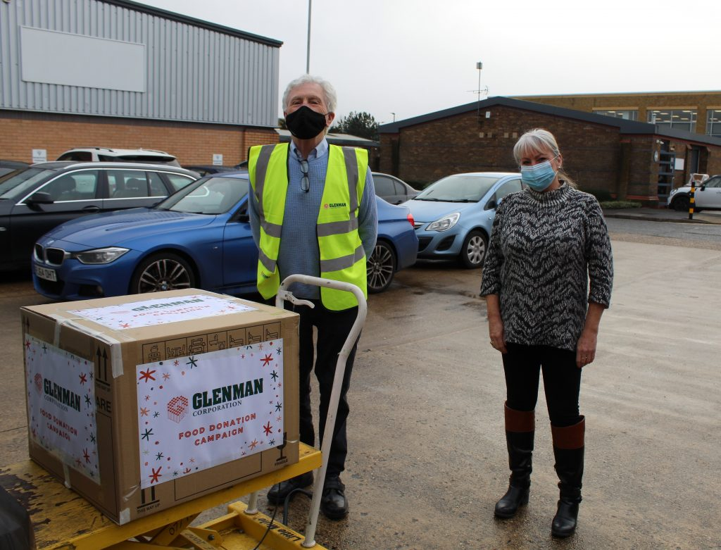 Slough Foodbank's Manager, welcomes Glenman's contribution