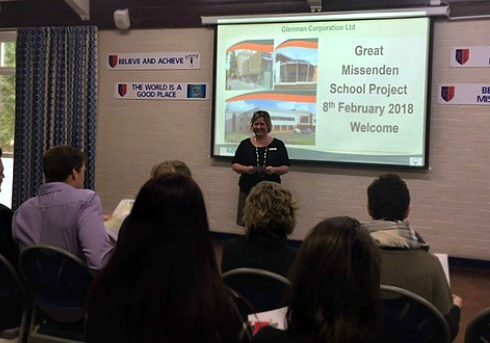 Caroline Taylor from Great Missenden School introduces Glenman to the local parents.